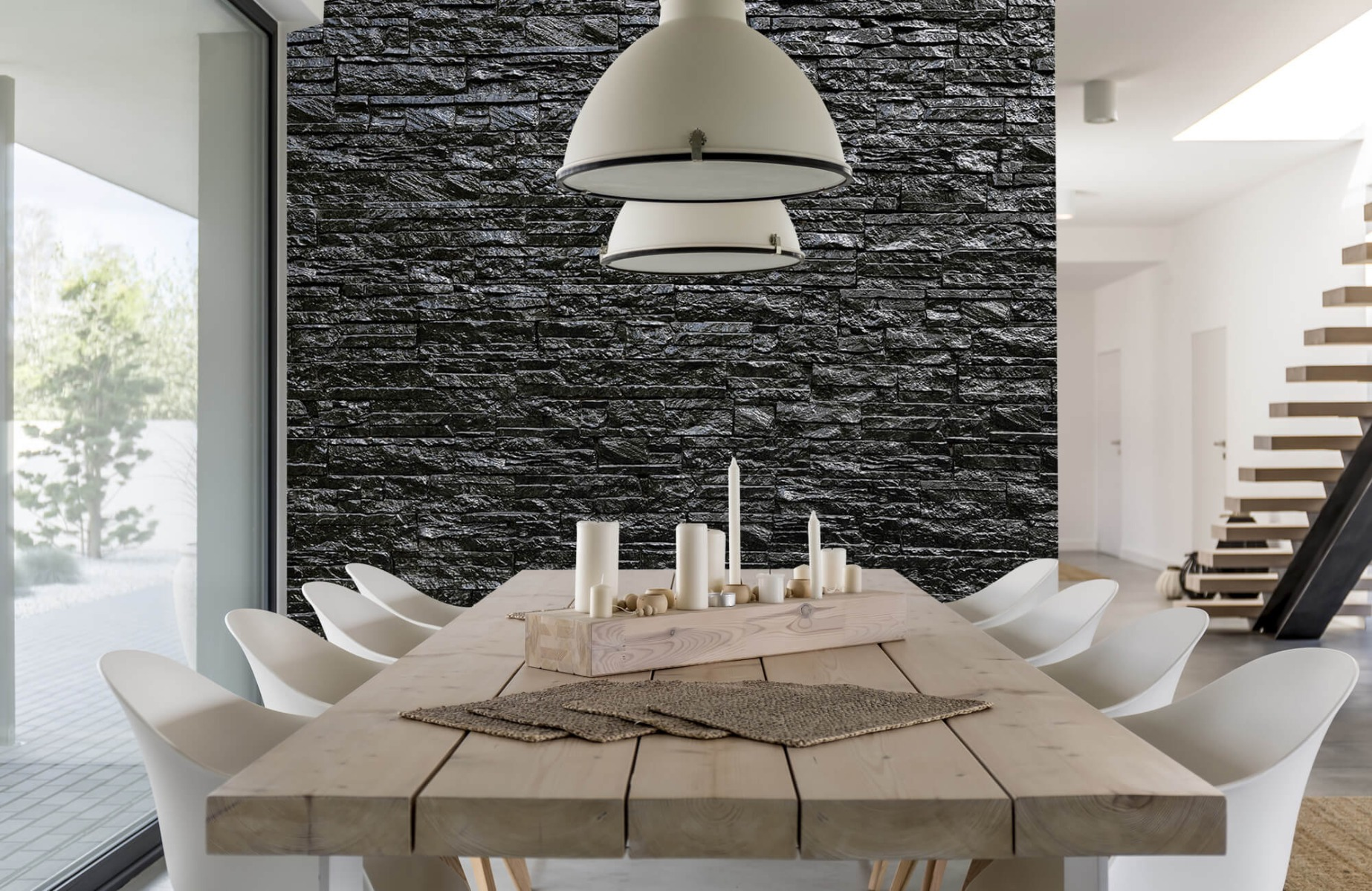 Steen behang - Zwarte stenen - Slaapkamer 2