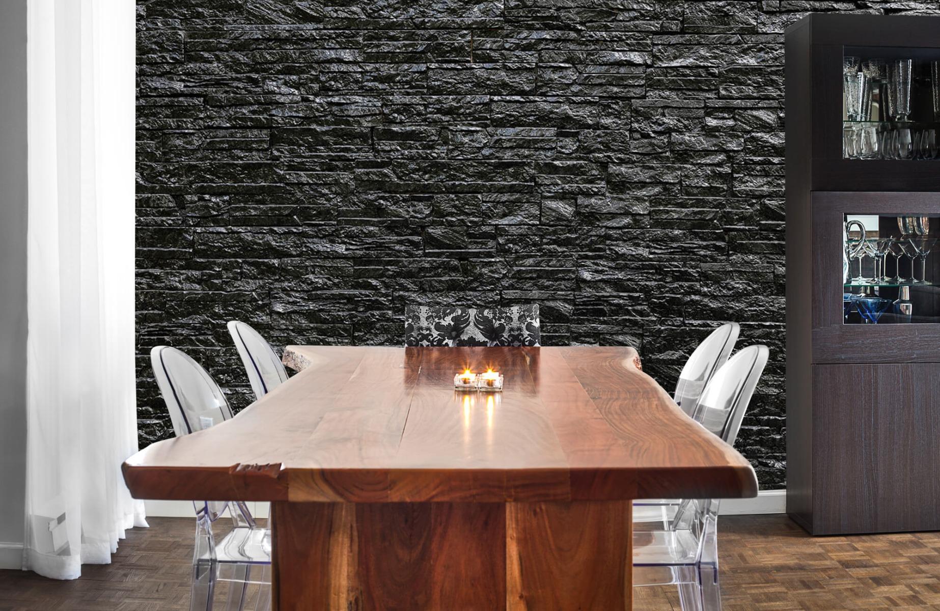 Steen behang - Zwarte stenen - Slaapkamer 3