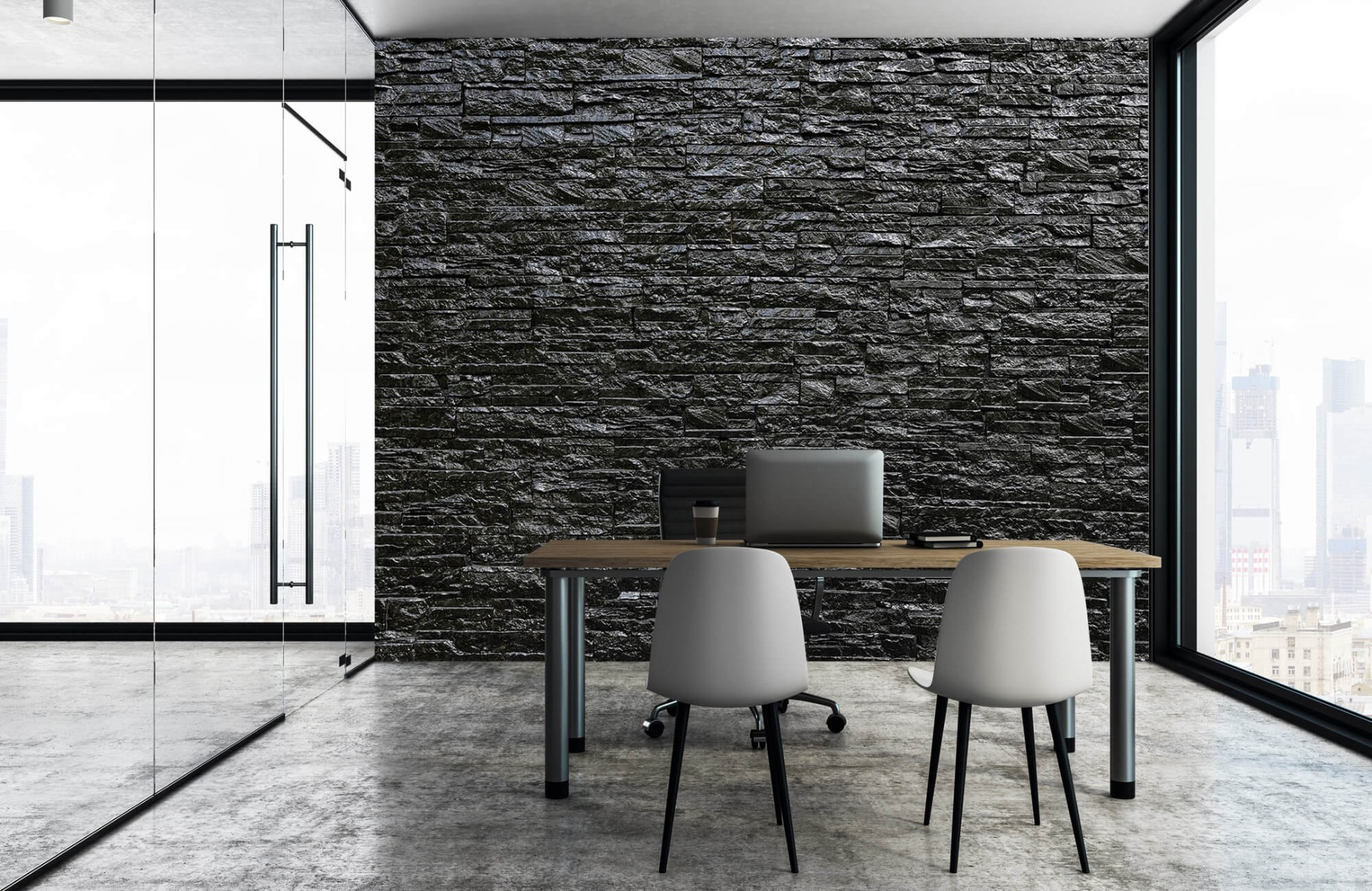 Steen behang - Zwarte stenen - Slaapkamer 4