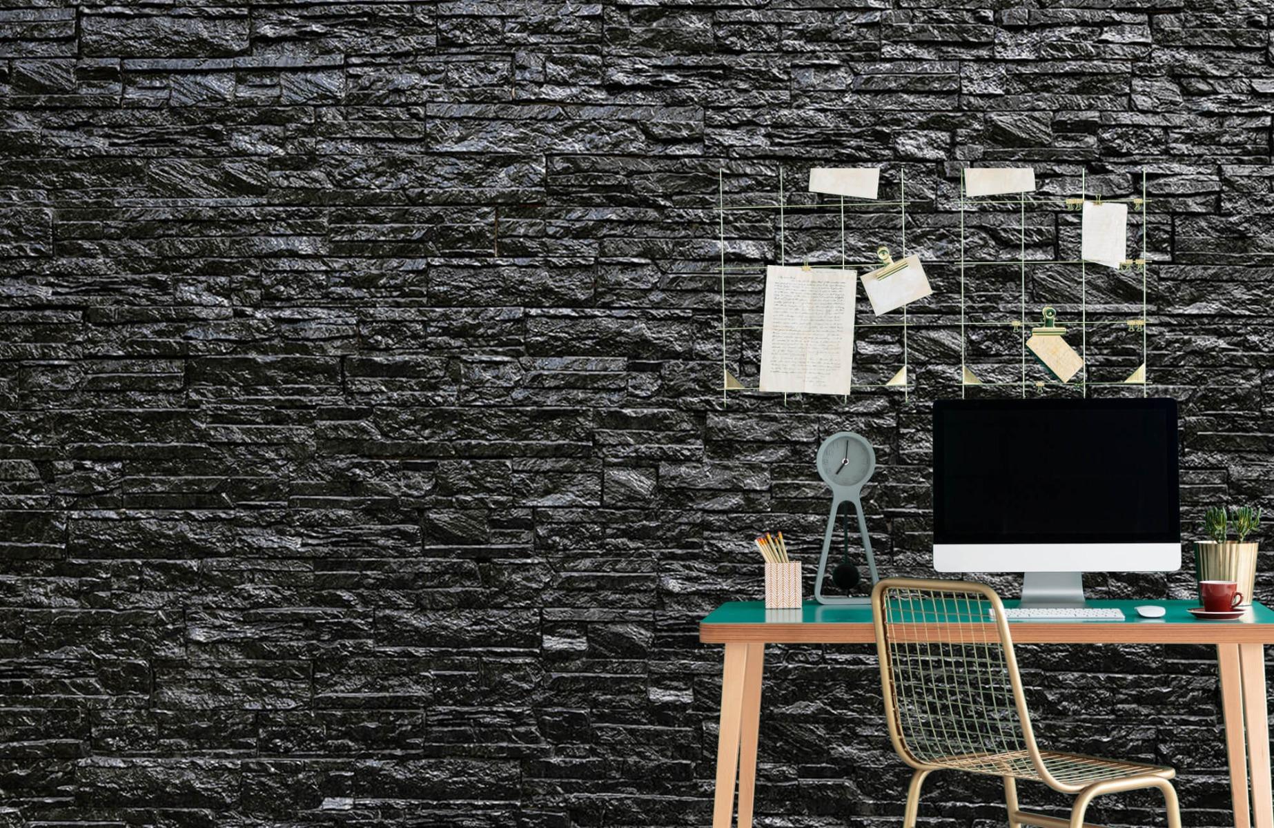 Steen behang - Zwarte stenen - Slaapkamer 7