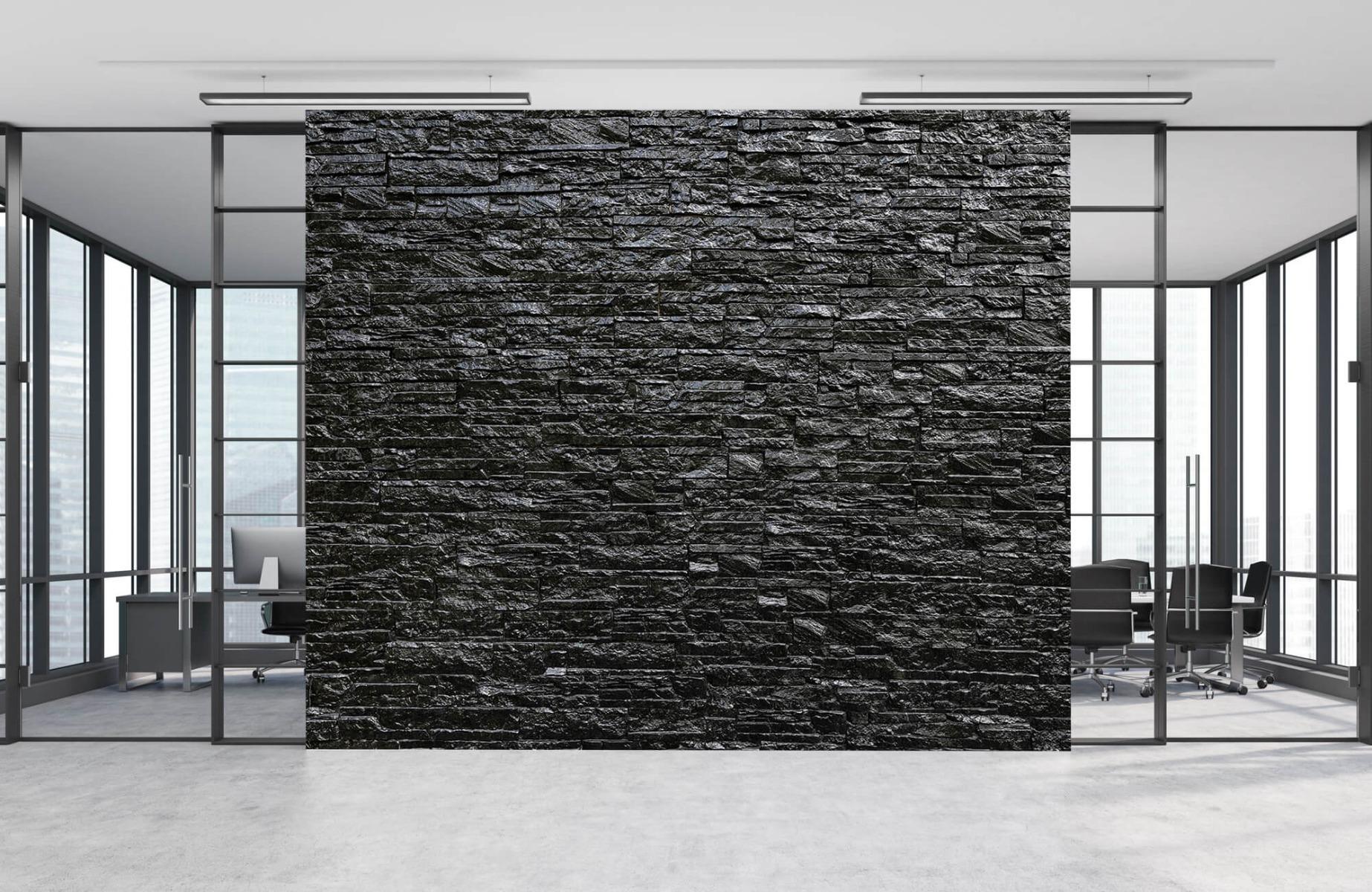 Steen behang - Zwarte stenen - Slaapkamer 8