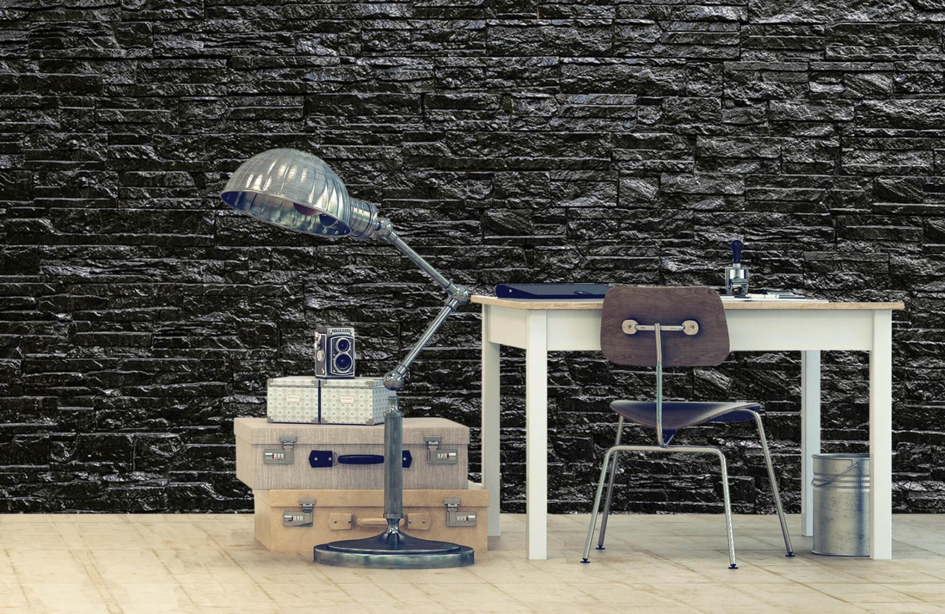 Steen behang - Zwarte stenen - Slaapkamer 9