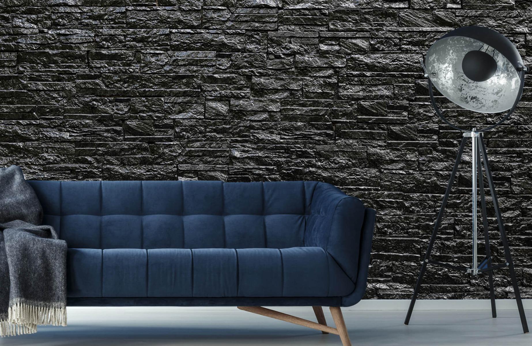 Steen behang - Zwarte stenen - Slaapkamer 10