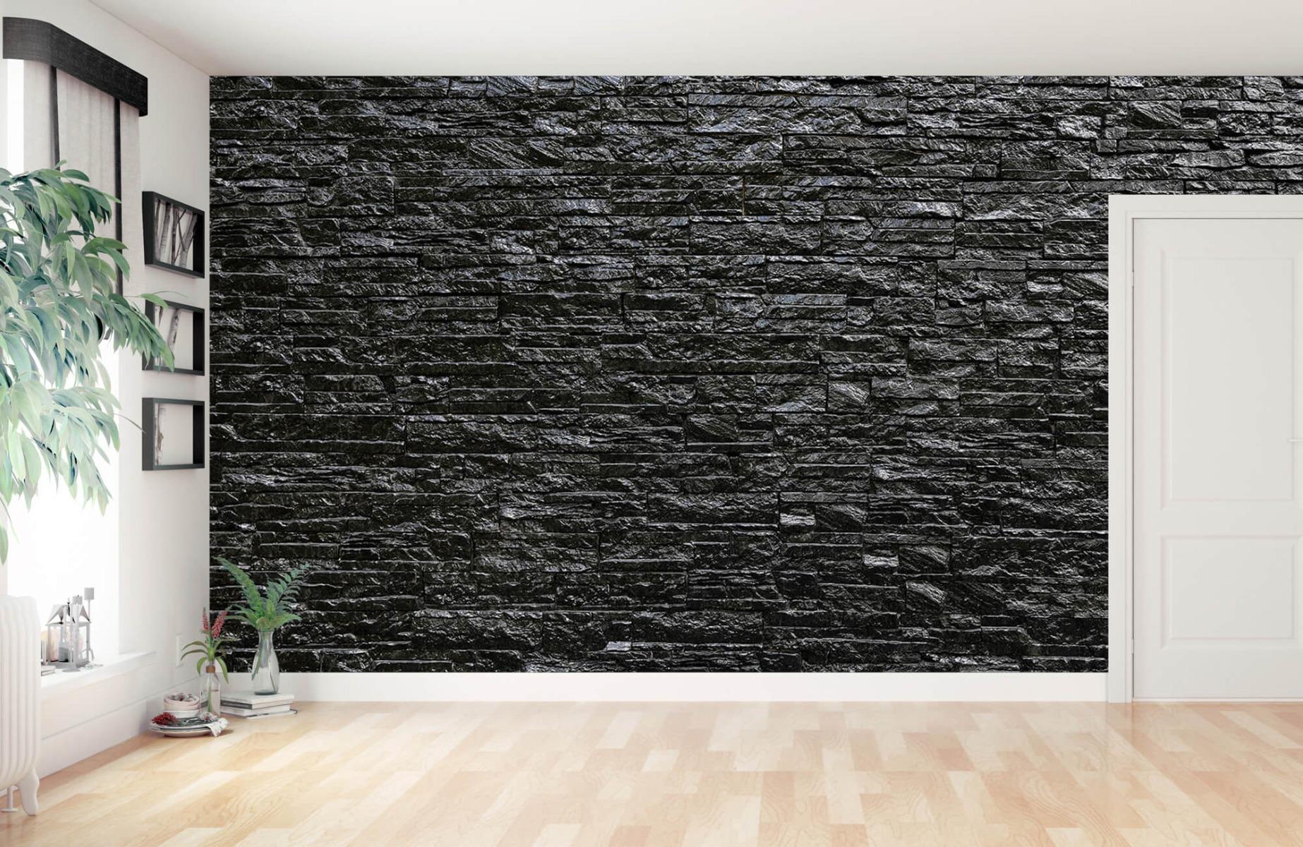 Steen behang - Zwarte stenen - Slaapkamer 11