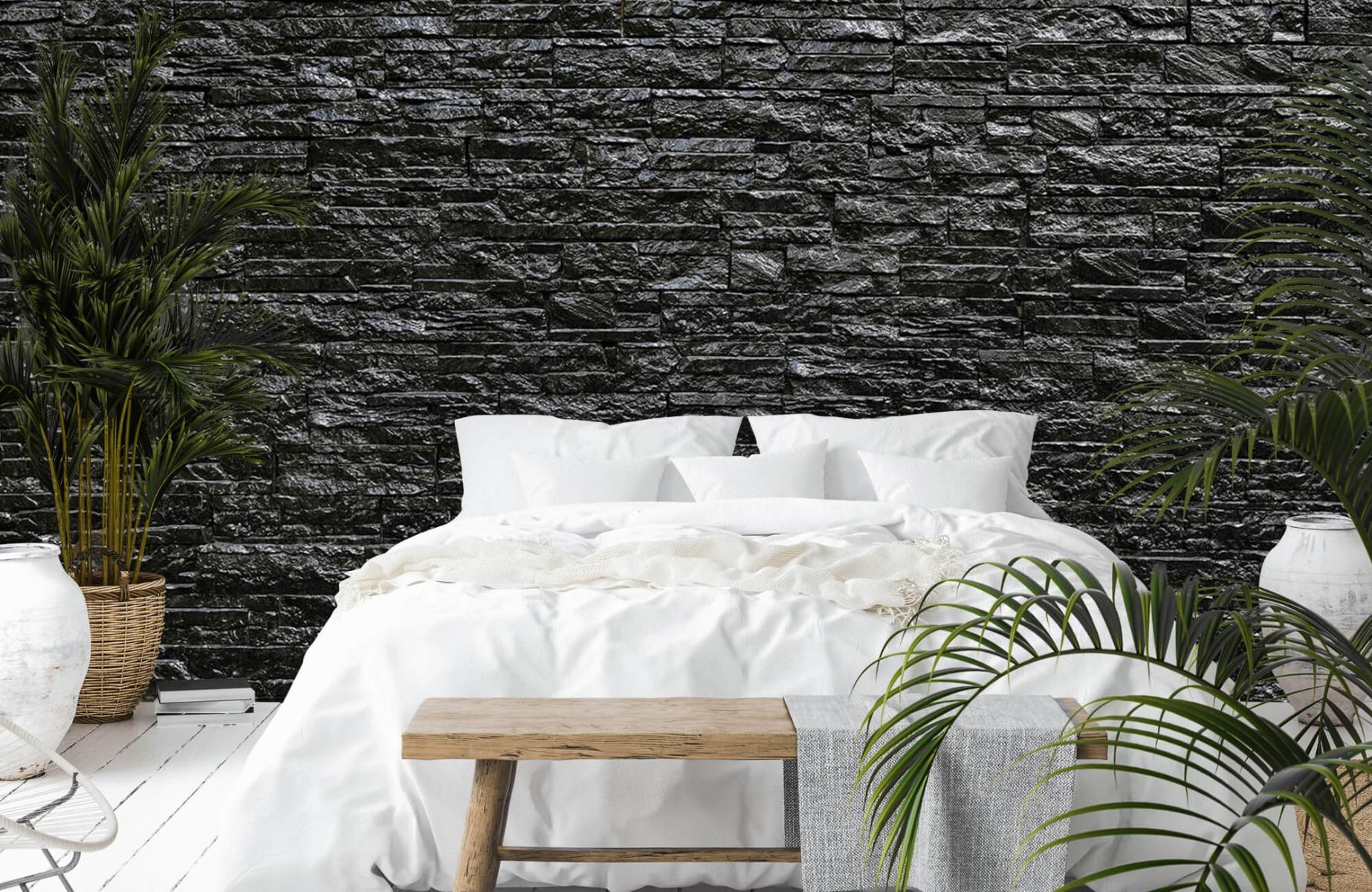 Steen behang - Zwarte stenen - Slaapkamer 13