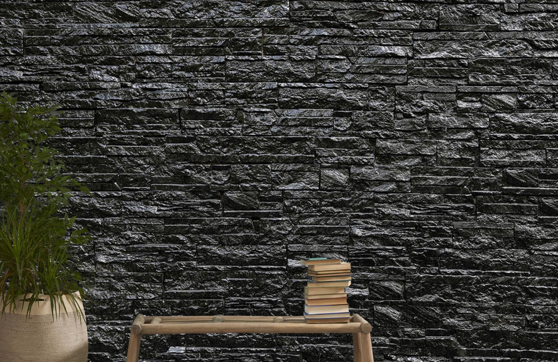 Steen behang - Zwarte stenen - Slaapkamer 20