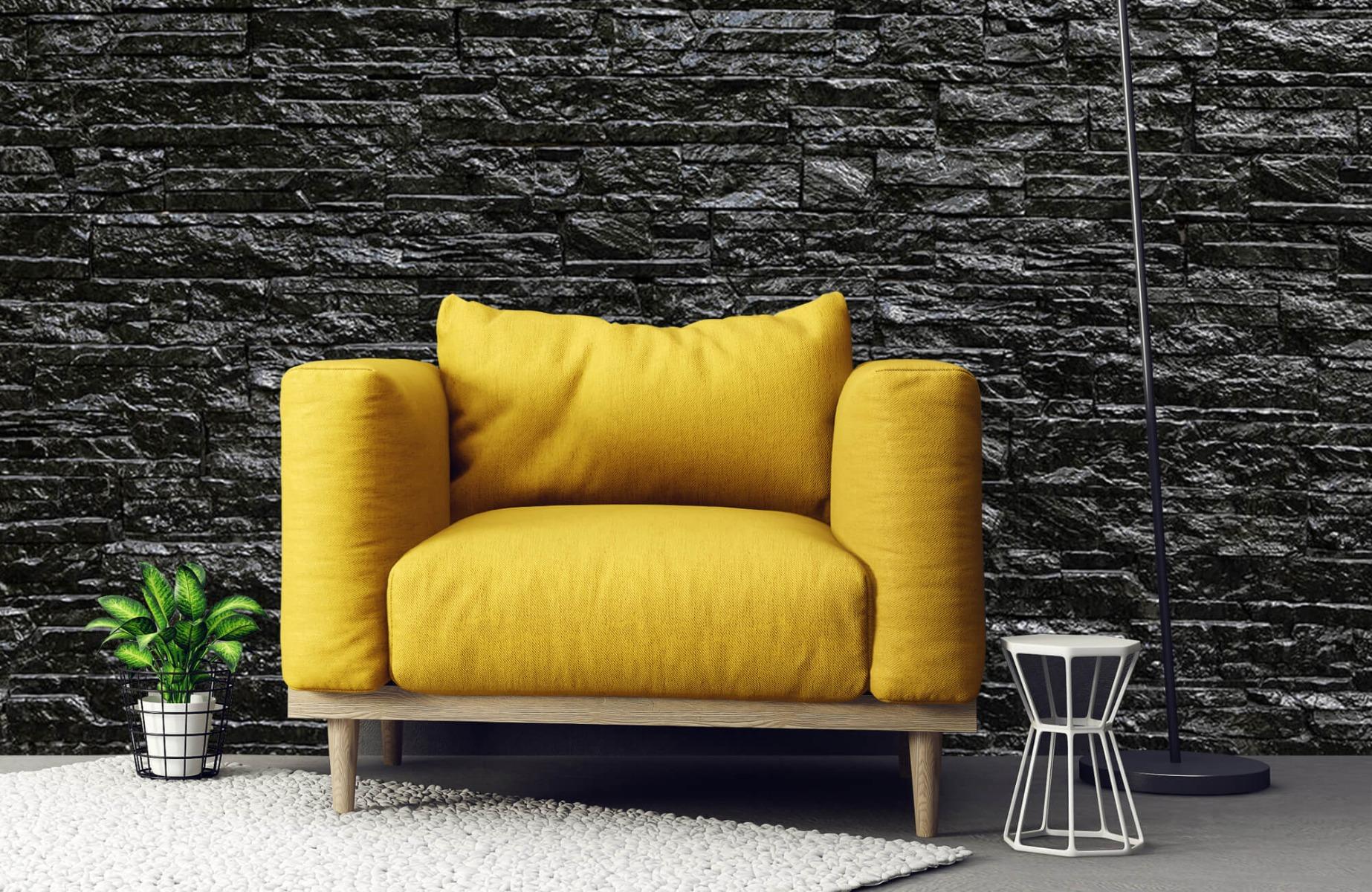 Steen behang - Zwarte stenen - Slaapkamer 21