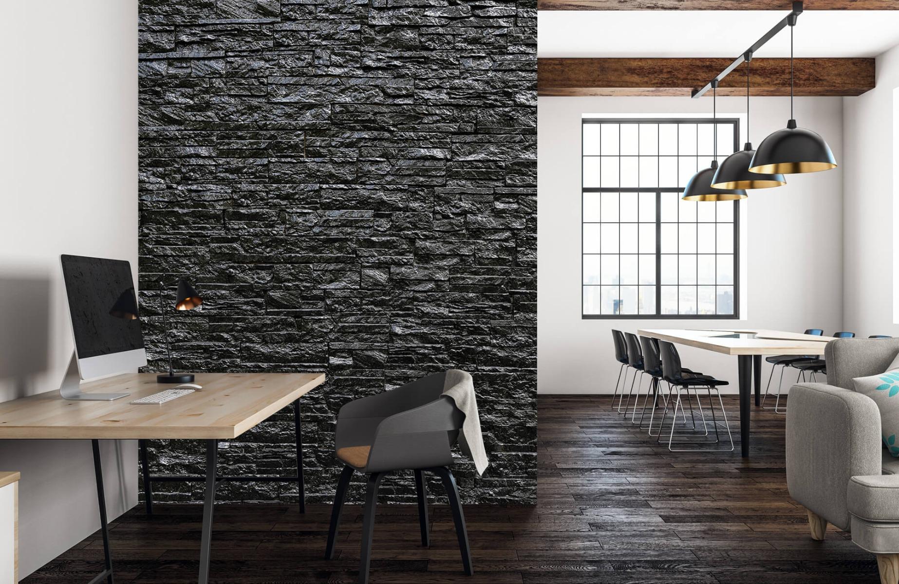 Steen behang - Zwarte stenen - Slaapkamer 22