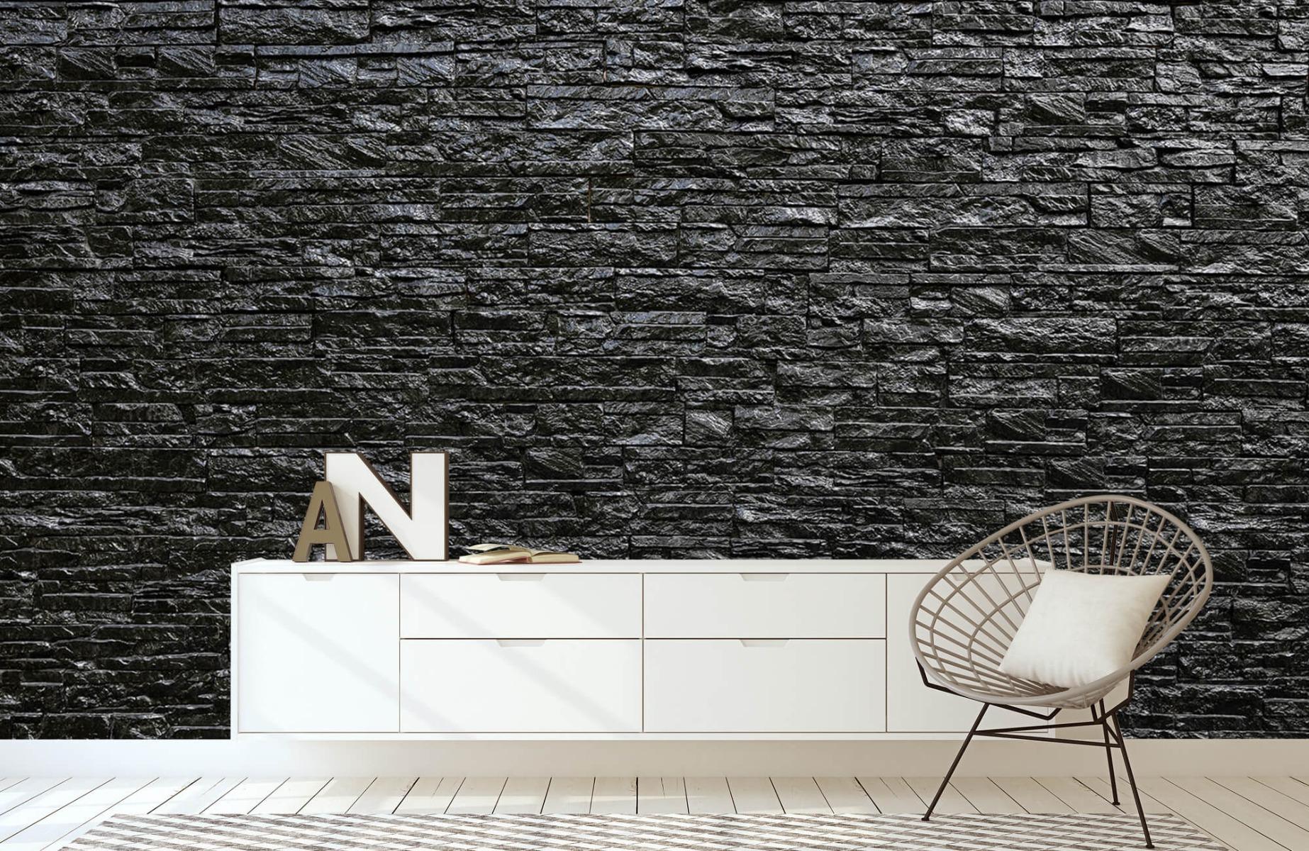 Steen behang - Zwarte stenen - Slaapkamer 23